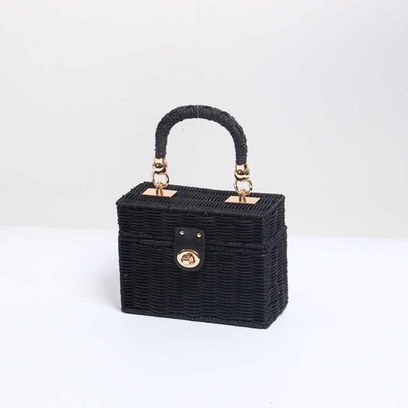 Zara Black Woven Wicker Rattan Straw Box Bag